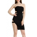 Womens Sexy Strapless Hollow Out Waist Mini Plain Bodycon Bandeau Dress