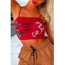 Womens Cool Dragon Totem Letter DON'T TEXT BACK Print Red Slim Fit Crop Cami Top