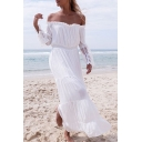 Womens Summer Plain Chic Lace-Panel Bell Long Sleeve Off the Shoulder Holiday White Maxi Beach Dress