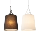 Fabric Tapered Shade Pendant Lamp Modern Simple 1 Head Hanging Light Fixture in Black/White