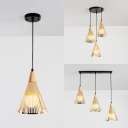 Post Modern Conical Cord Hanging Light Metal Shade 1/3 Head Suspension Lamp in Gold