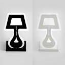 Black/White Table Lamp Shaped Sconce Light Simple Acrylic LED Wall Light for Bedroom Hallway
