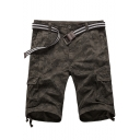 Men's Summer Trendy Cool Camouflage Printed Flap Pocket Side Cotton Cargo Shorts