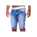 Summer New Fashion Plaid Pattern Rolled Cuffs Blue Ripped Denim Shorts for Men