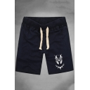 Guys Hot Fashion Cosplay Printed Drawstring Waist Cotton Sweat Shorts