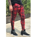 Men's New Stylish Plaid Pattern Drawstring Waist Stretched Slim Fit Casual Pencil Pants