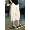 Chinese Style Simple Plain Cropped Linen Wide-Leg Casual Pants for Men