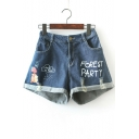 Cartoon Letter FOREST PARTY Ripped Rolled Cuff Blue Denim Shorts for Girls