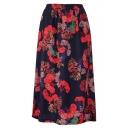Summer Vintage Floral Printed Elastic Waist Midi Linen A-Line Skirt