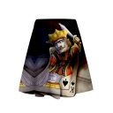Girls Summer Casual Stylish 3D King Poker Print Mini A-Line Skirt
