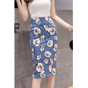 Fast Fashion Girls Causal Blue floral Print Split-Back Midi Bodycon Skirt