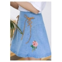 Girls New Trendy Summer Blue Rose-Embroidered Lace-Up Front Mini A-line Denim Skirt