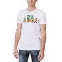Summer Cool Creative Tiger Letter SAVE JUNGLE Print Short Sleeve White Tee