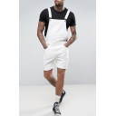 Guys New Stylish Simple Plain White Denim Rompers Shorts Bib Overalls