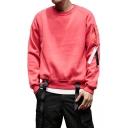 Guys Unique Street Fashion Cool Buckled Ribbon Hem Crewneck Long Sleeve Plain Casual Sweatshirt