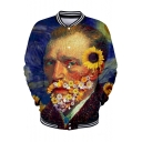 Fancy Floral Figure Van Gogh 3D Printed Rib Stand Collar Long Sleeve Button Down Baseball Jacket