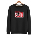 My Hero Cool Letter Figure Print Long Sleeve Pullover Fitted Cotton Sweatshirt
