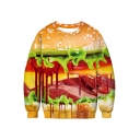 Halloween Stylish Blood Hamburger Skeleton 3D Print Long Sleeve Unisex Sweatshirt