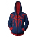 New Stylish Blue and Red Spider Pattern Long Sleeve Zip Up Hoodie