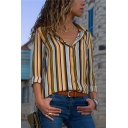 Womens Hot Popular Vertical Stripe Print Long Sleeve Chiffon Button Shirt