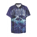 Summer Fancy Blue Galaxy Forest Printed Short Sleeve Fitted Button Shirt