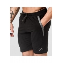 Men's Summer Fashion Logo Embroidery Zipped Pocket Drawstring Waist Training Sweat Shorts