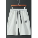 Men's Summer Trendy Letter Patchwork Drawstring Waist Relaxed Sweat Shorts