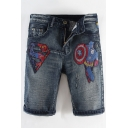 Men's Summer Fashion Hot Movie Character Embroidery Pattern Casual Denim Shorts