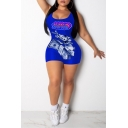 New Stylish Womens Sexy Blue Cartoon Letter XOXO Print Sleeveless Scoop Neck Slim Romper