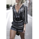 Women Chic Stylish Plunge V Neck Long Sleeve Black Tribal Geometric Print Casual Romper