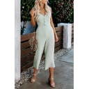 Womens Summer Fancy Light Green Sleeveless Bow-Back V-Neck Button Front Casual Jumpsuits