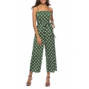 Womens Hot Fashion Polka Dot Print Straps Sleeveless Tie-Waist Casual Loose Jumpsuits
