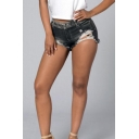 Womens Grey Trendy Street Style Distressed Ripped Skinny Fit Denim Shorts