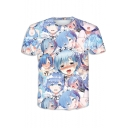 Stylish Blue Ahegao Comic Girl Pattern Round Neck Short Sleeve T-Shirt
