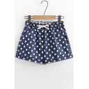 Girls Summer Fashion Drawstring Waist Polka Dot Printed Leisure Linen Shorts