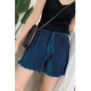 Summer New Fashion Simple Plain Elastic Waist Loose Fit Pleated Shorts