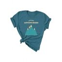 LET'S BE ADVENTURERS Letter Mountain Print Short Sleeve Loose Tee