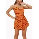 Stylish Orange V Neck Polka Dot Printed Crisscross Straps Back Sleeveless Sweet Casual Romper