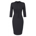 Womens Fashion Simple Solid Color Three-Quarter Sleeve Midi Fitted Hoodie Dress