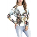 New Stylish Cartoon Figure Print Round Neck Long Sleeve Pullover Sweatshirt