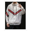 Guys Trendy Chevron Striped Long Sleeve Sun Protection Zip Up Hooded Casual Jacket Coat