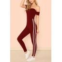 Women's Sexy Off Shoulder Short Sleeve High Waist Contrast Trimmed Slinky Jumpsuits