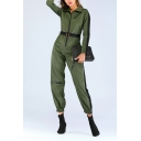 Womens Stylish Green Long Sleeve Contrast Trim Lapel Collar Zipper-Fly Belt-Front Vintage Jumpsuit