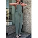 New Arrival Fashion Plain Sleeveless Square Neck Tie Waist Leisure Jumpsuits