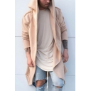 Guys New Trendy Simple Plain Open Front Long Sleeve Hooded Long Cardigan Coat
