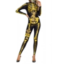 Halloween Style Black Skeleton Pattern High Neck Long Sleeves Jumpsuits