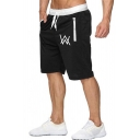Men's Summer Fashion Letter W Logo Printed Zipped Pocket Drawstring Waist Casual Sports Sweat Shorts