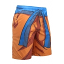 Popular Fashion Comic 3D Printed Drawstring Waist Orange Outdoor Sport Athletic Shorts with Liner for Guys