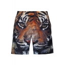 Summer Hot Fashion Creative 3D Tiger Printed Drawstring Waist Brown Casual Loose Shorts with Mesh Liner for Guys