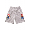 Summer New Fashion Cartoon Printed Flap Pocket Side Drawstring Waist Casual Cargo Shorts